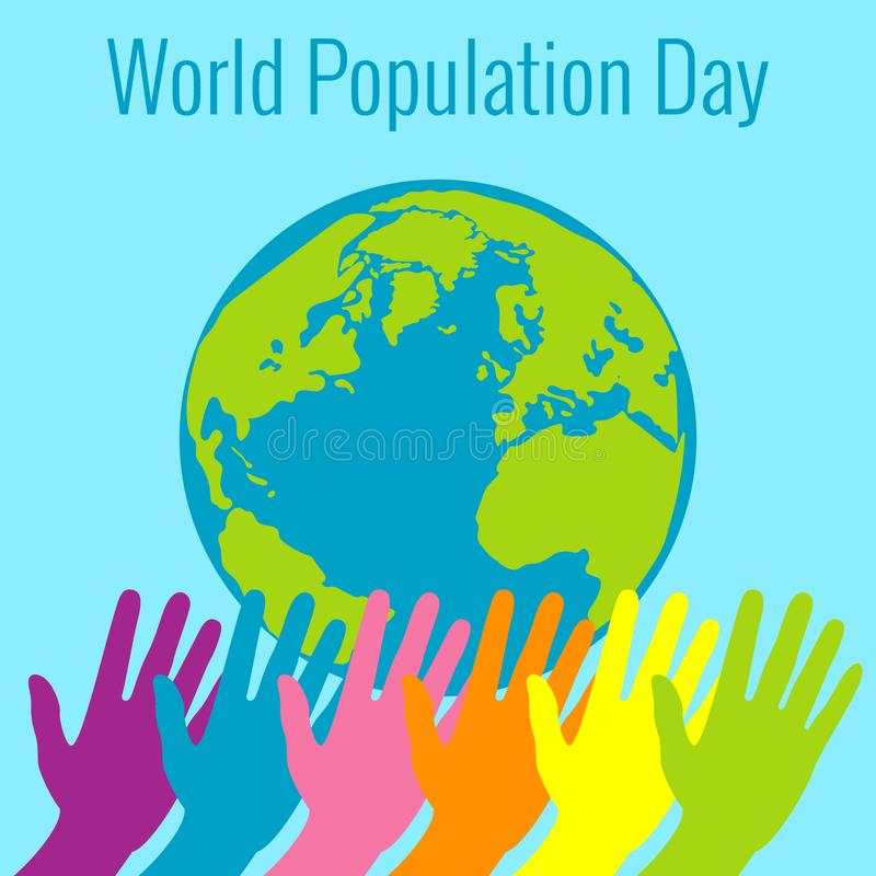Dia da população de mundo 11 de julho Mãos do estiramento diferente das cores Terra do planeta o ilustração stock