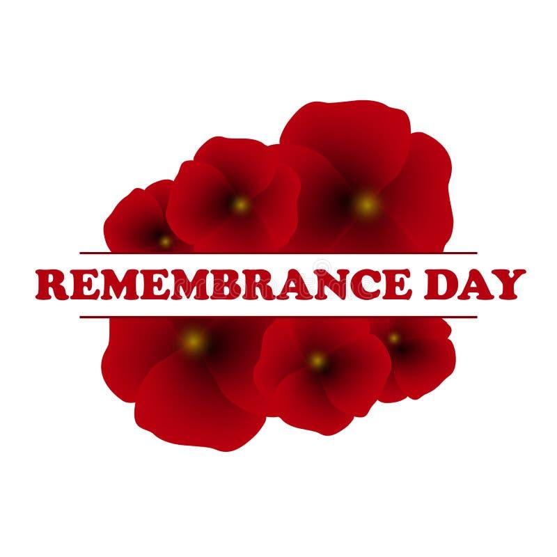 Dia da relembrança, Anzac Day, fundo do dia de veteranos com papoilas A fim de que não nós esqueçamos ilustração royalty free