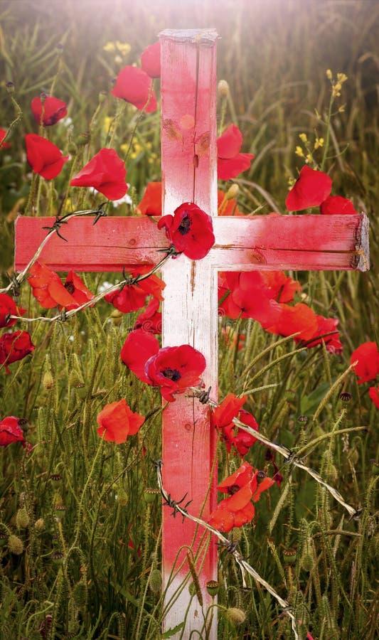 Dia da relembrança - cruz de madeira com papoilas e fio da farpa foto de stock