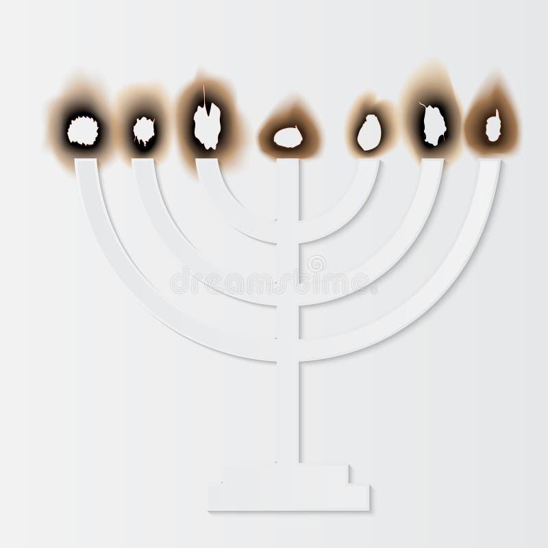 Dia da relembrança do holocausto, menorah de papel Ilustração do vetor ilustração royalty free