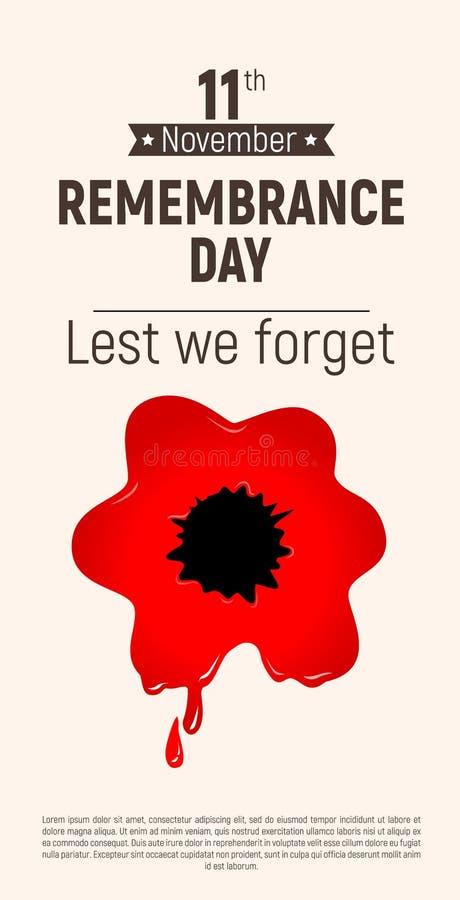 Dia da relembrança a fim de que não nós esqueçamos papoila o flye ensanguentado vermelho do 11 de novembro ilustração stock