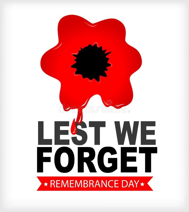 Dia da relembrança a fim de que não nós esqueçamos a papoila vermelha no sangue ilustração do vetor