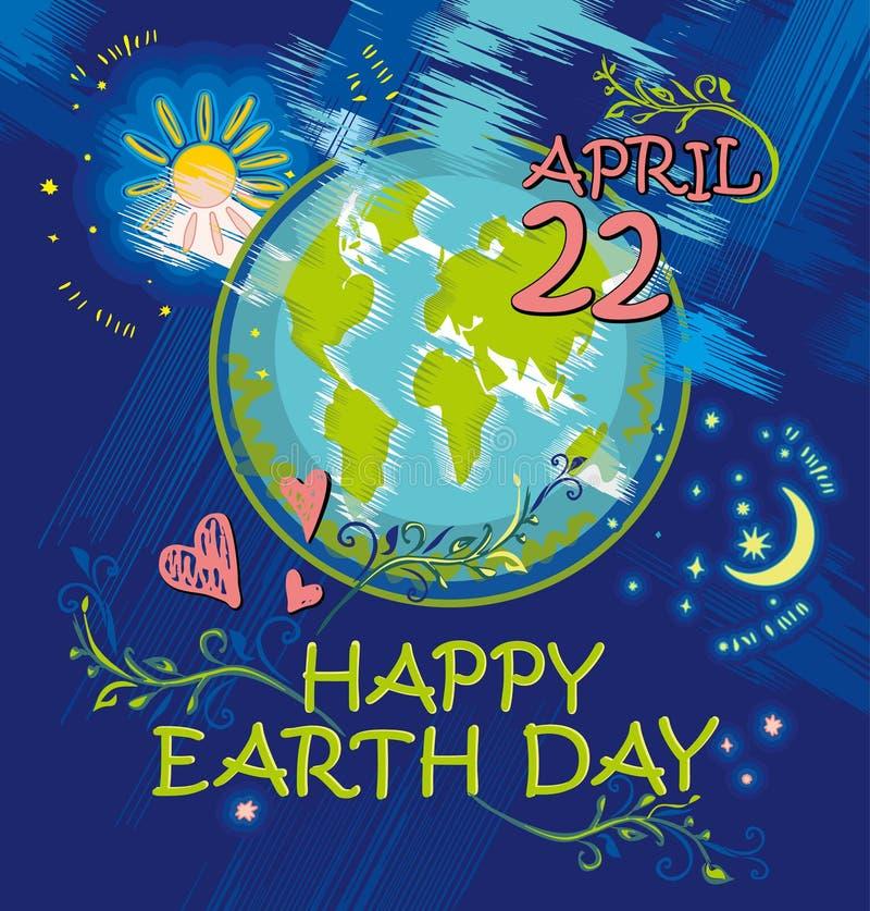 Dia da Terra feliz 22 de abril ilustração royalty free