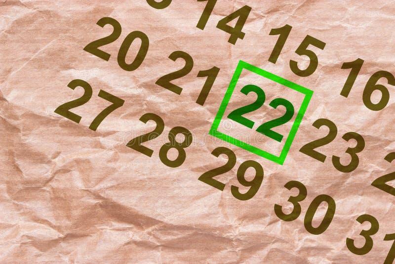 Dia da Terra marcado no calendário ilustração do vetor