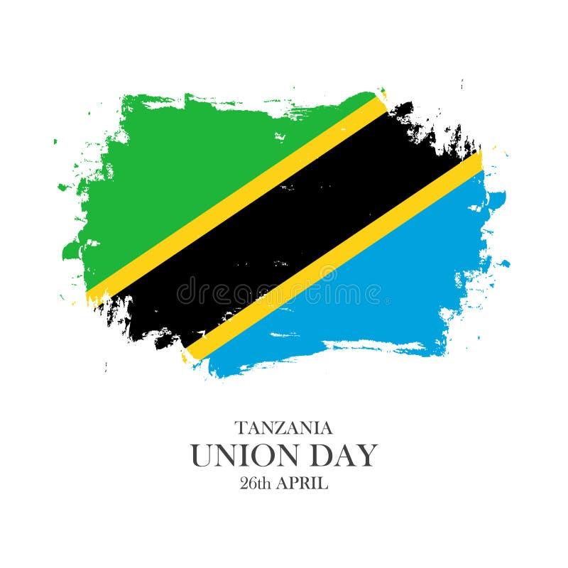 Dia da união de Tanzânia, o 26 de abril cartão com fundo do curso da escova em cores nacionais tanzanianas ilustração stock