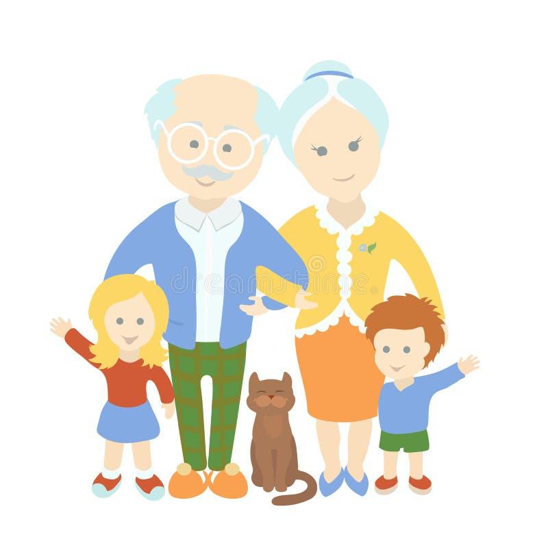 Dia das avós Família Pares velhos bonitos felizes com netos ilustração stock