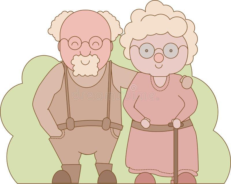 Dia das avós Grandparents felizes Vovô e avó que estão o sorriso completo do comprimento ilustração do vetor