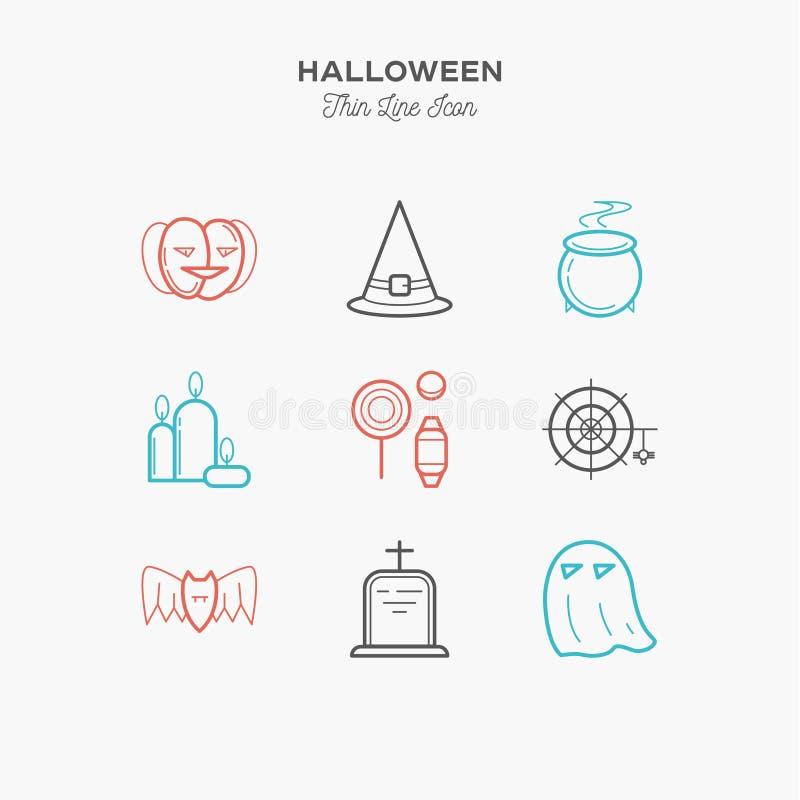 Dia das Bruxas, abóbora, doces e mais, linha fina ícones da cor ajustados ilustração stock
