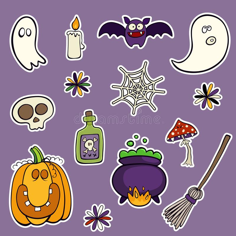 Dia das Bruxas ajustou-se dos remendos com abóbora, crânio, cogumelo e outros elementos ilustração stock