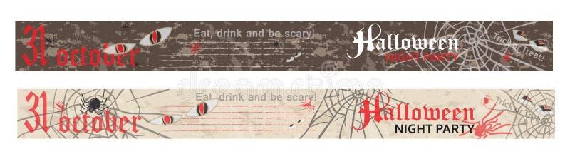 Dia das Bruxas, anunciando a bandeira da Web, estilo do vintage ilustração do vetor