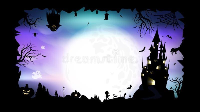 Dia das Bruxas, cartaz, ilustração do vetor do fundo do sumário da fantasia da silhueta ilustração do vetor