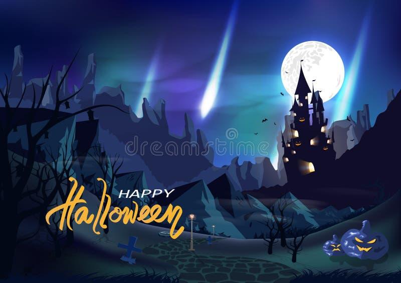 Dia das Bruxas, castelo da fantasia, Aurora do conceito do Polo Norte, cartão do cartaz do vintage do convite, cemitério, área de ilustração royalty free