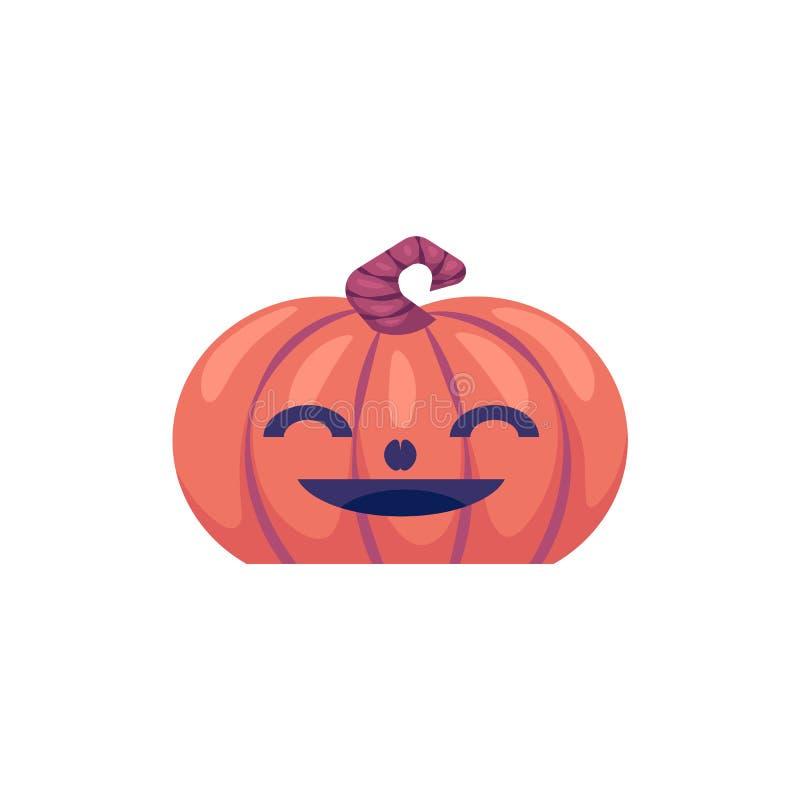 Dia das Bruxas cinzelou a abóbora com o emoticon de sorriso da cara isolado no fundo branco ilustração do vetor