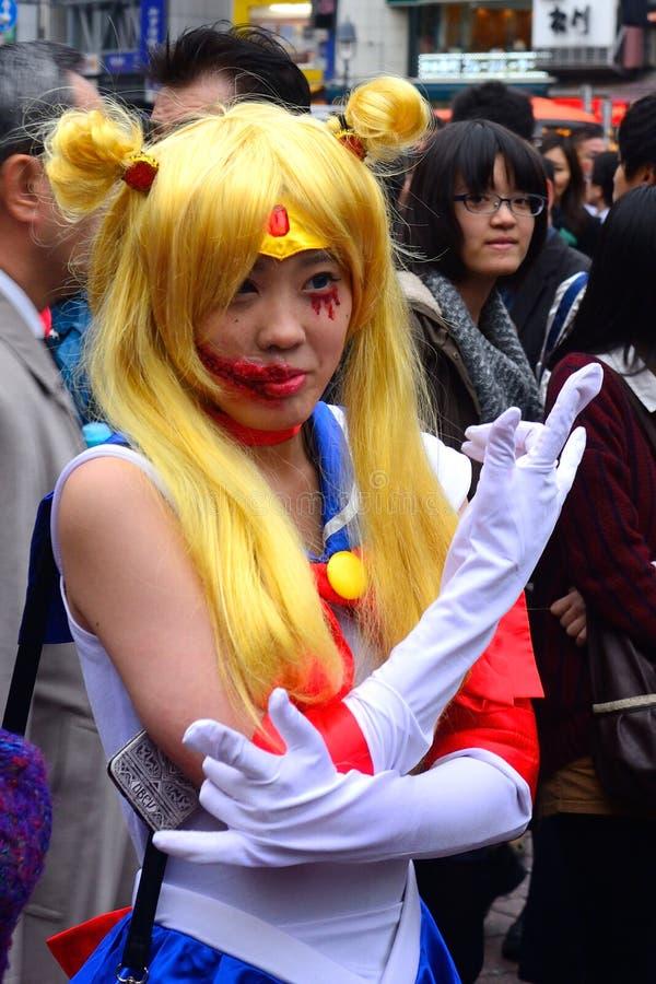 Dia das Bruxas em Shibuya, Tóquio, Japão fotografia de stock