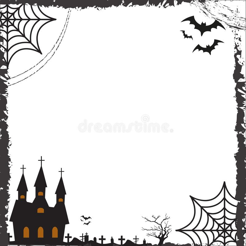 Dia das Bruxas esquadra o quadro para o texto com a teia de aranha, bastão, castelo Molde para seus cartões do projeto, convites, ilustração stock