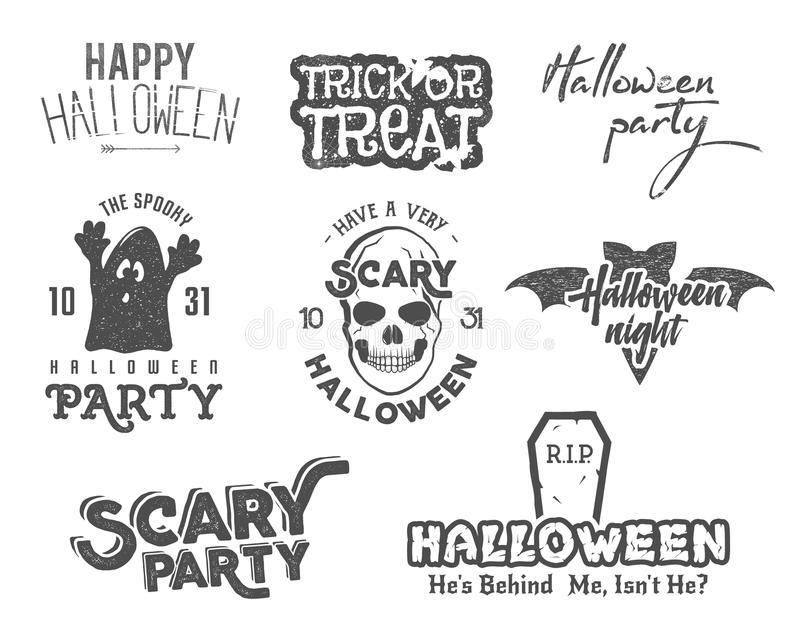 Dia das Bruxas 2016 etiquetas do vintage do partido, T projeta com símbolos assustadores - fantasma, bastão, crânio e elementos d ilustração do vetor