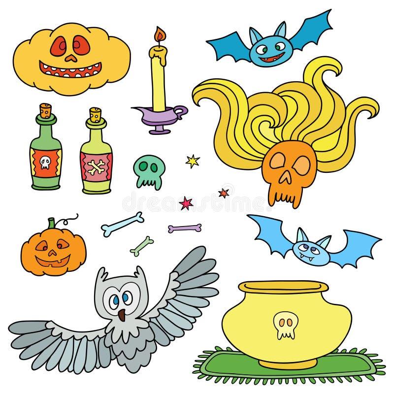 Dia das Bruxas feliz ajustou-se com abóboras, fantasmas, aranhas Elementos dos desenhos animados ilustração do vetor