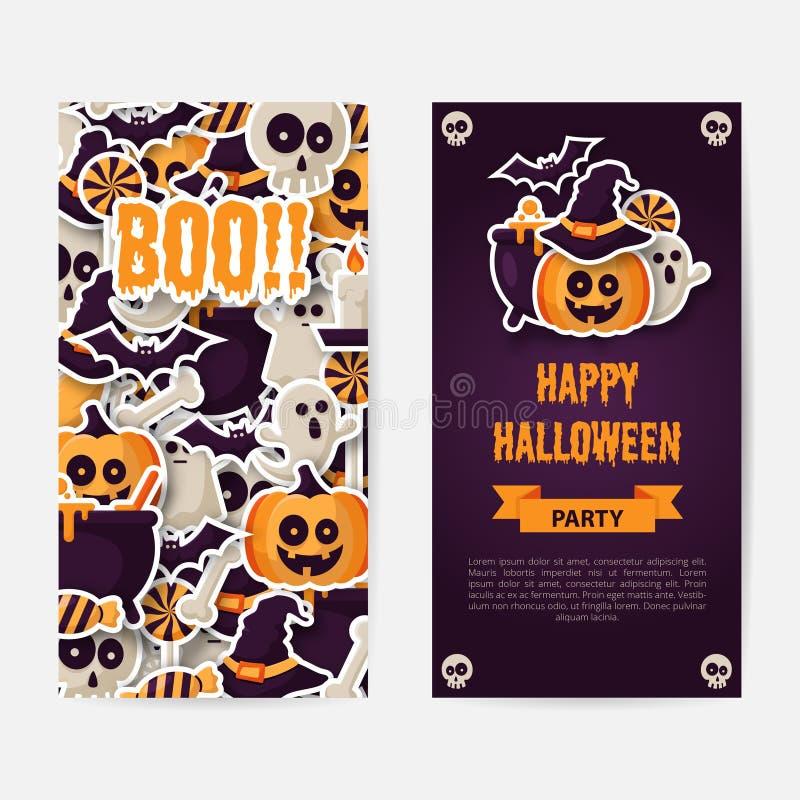 Dia das Bruxas feliz dois projetos dos lados cartaz, do inseto ou do menu ilustração royalty free