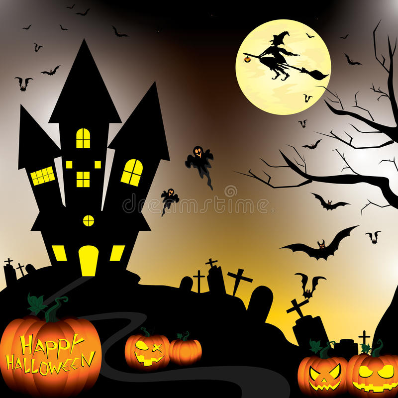 Dia das Bruxas feliz e abóbora, bruxa, bastões, objetos na noite da lua no céu preto ilustração royalty free