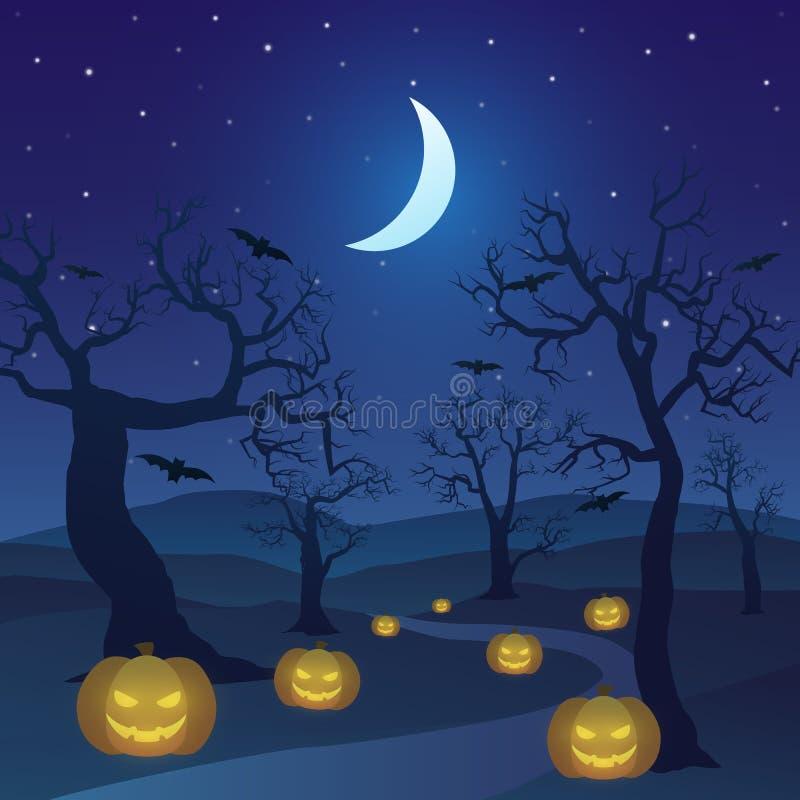 Dia das Bruxas feliz na floresta na noite com árvore inoperante, abóboras, e a lua crescente ilustração royalty free