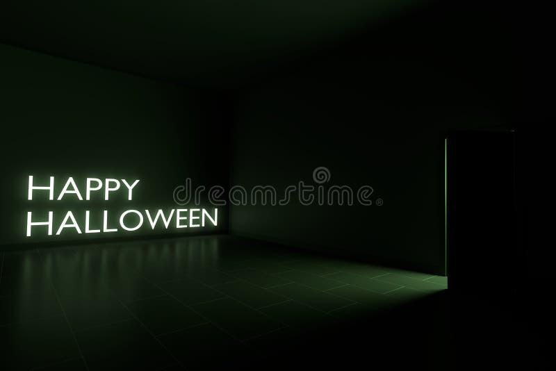 Dia das Bruxas feliz na sala escura 3D rende ilustração stock