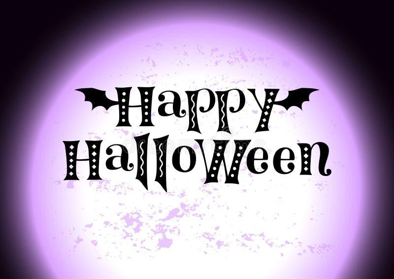 Dia das Bruxas feliz no preto decorado com asas e ornamento do bastão no fundo com a lua gigante textured violeta ilustração do vetor