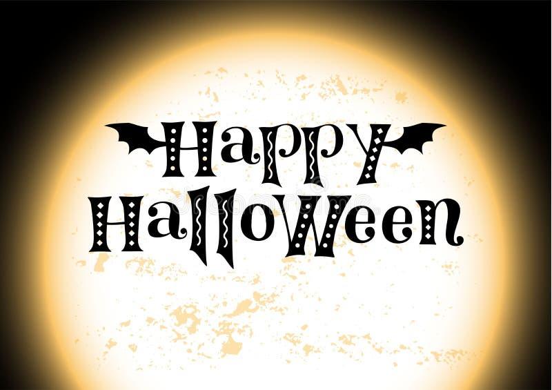 Dia das Bruxas feliz no preto no fundo com a lua gigante textured alaranjada com lugar para o texto ilustração do vetor