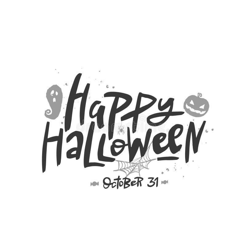 Dia das Bruxas feliz que rotula, caligrafia da escova do vetor Cópia escrita à mão da tipografia de Dia das Bruxas ilustração do vetor
