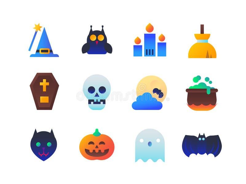 Dia das Bruxas - grupo de ícones lisos do estilo do projeto ilustração stock