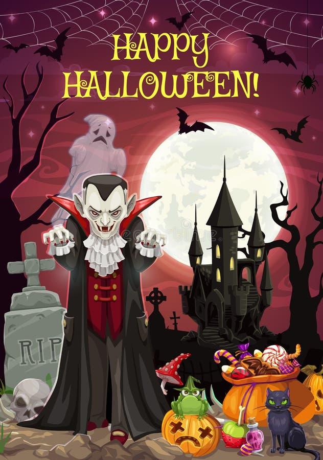 Dia das Bruxas no cemitério, Dracula e castelo, trata ilustração royalty free