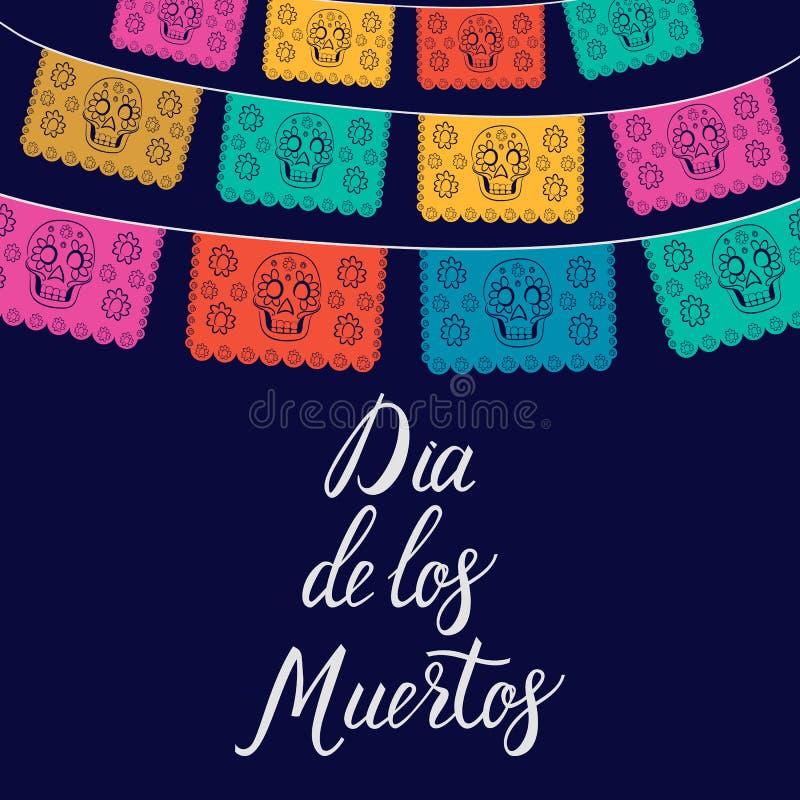 Dia de Лос Muertos, мексиканский день мертвой карточки, приглашение P иллюстрация вектора