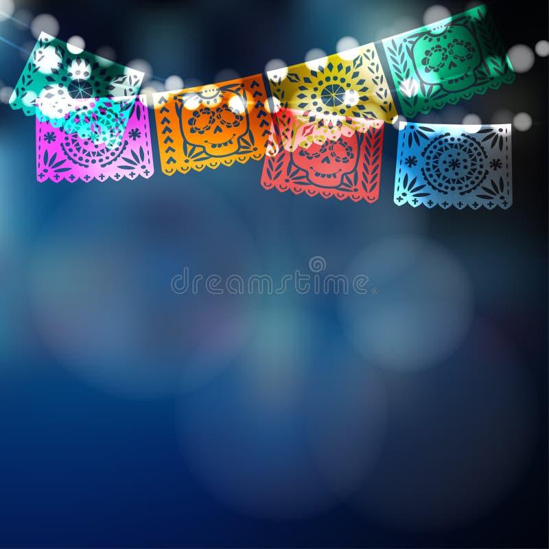 Dia de Лос Muertos, мексиканский день мертвой карточки, приглашение Party украшение, строка светов, флагов handmade бумаги, череп иллюстрация штока