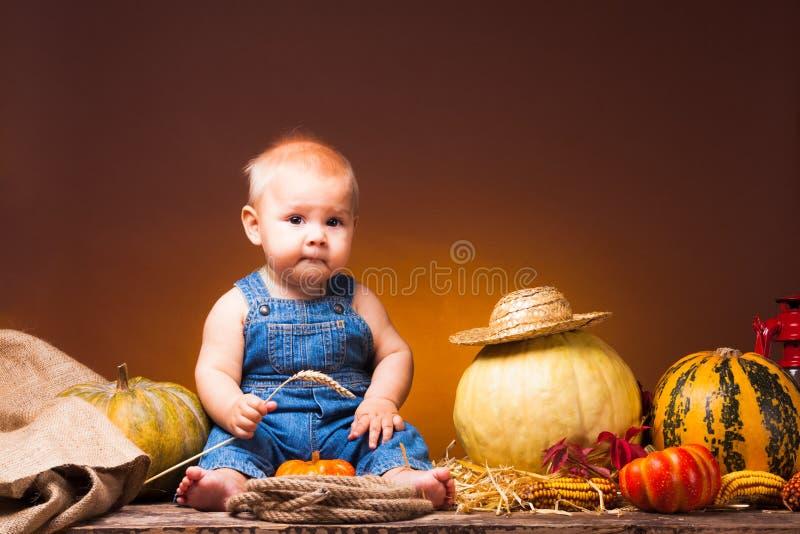 Dia de ação de graças, bebê bonito com a colheita fotografia de stock