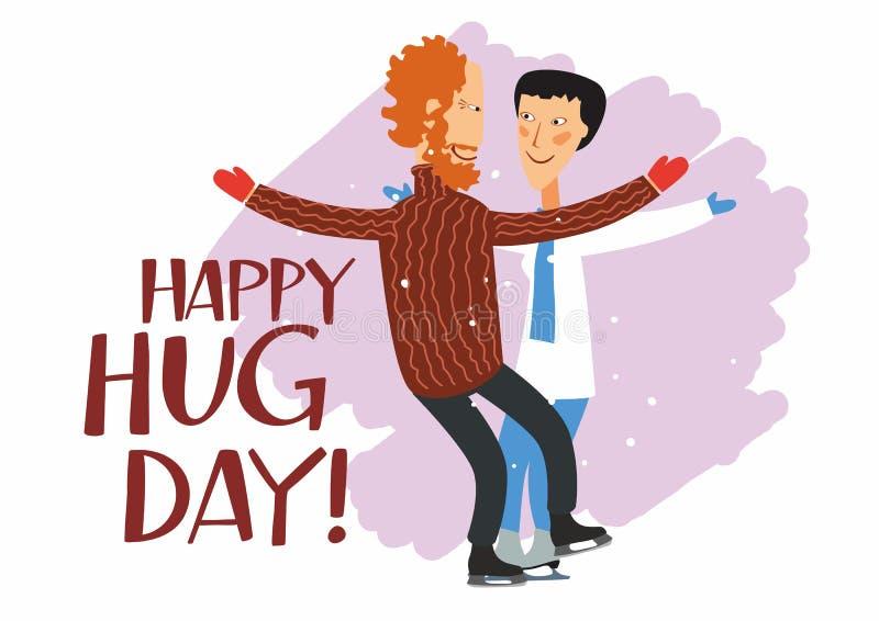 Dia de abraço feliz do cartão Homem alegre e mulher patinando no gelo vão abraçar ilustração stock
