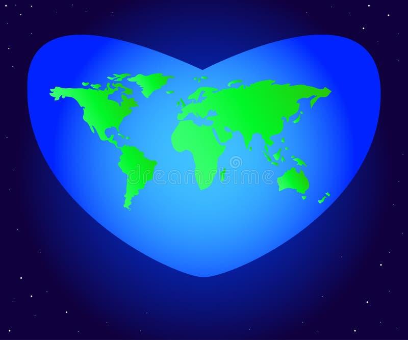 Dia de ambiente de mundo Vector a ilustração do verde da terra do planeta do continente em um coração azul bonito ilustração stock