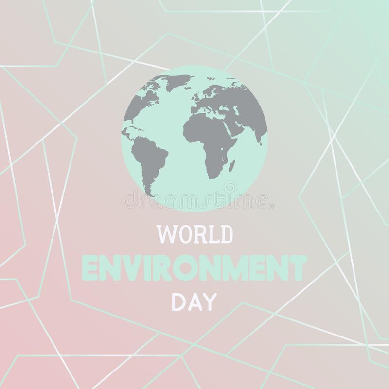 Dia de ambiente de mundo Cartaz da tipografia com globo da terra e formas geométricas poligonais ilustração stock