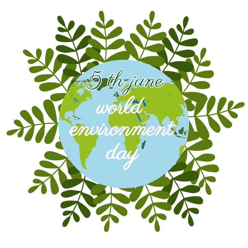Dia de ambiente de mundo no estilo liso no fundo verde Logotipo da natureza Globo dos desenhos animados Desenhos animados do veto ilustração stock