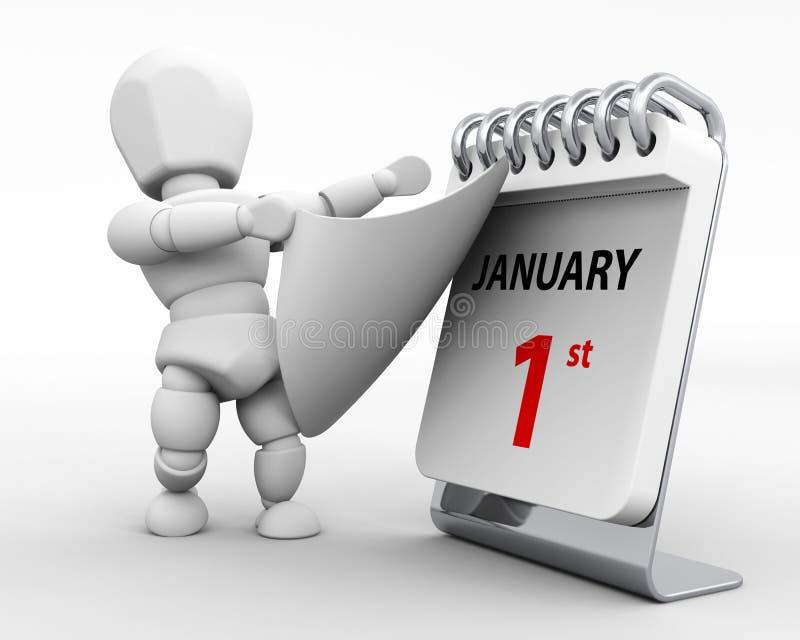 Dia de anos novos janeiro de ø ilustração royalty free