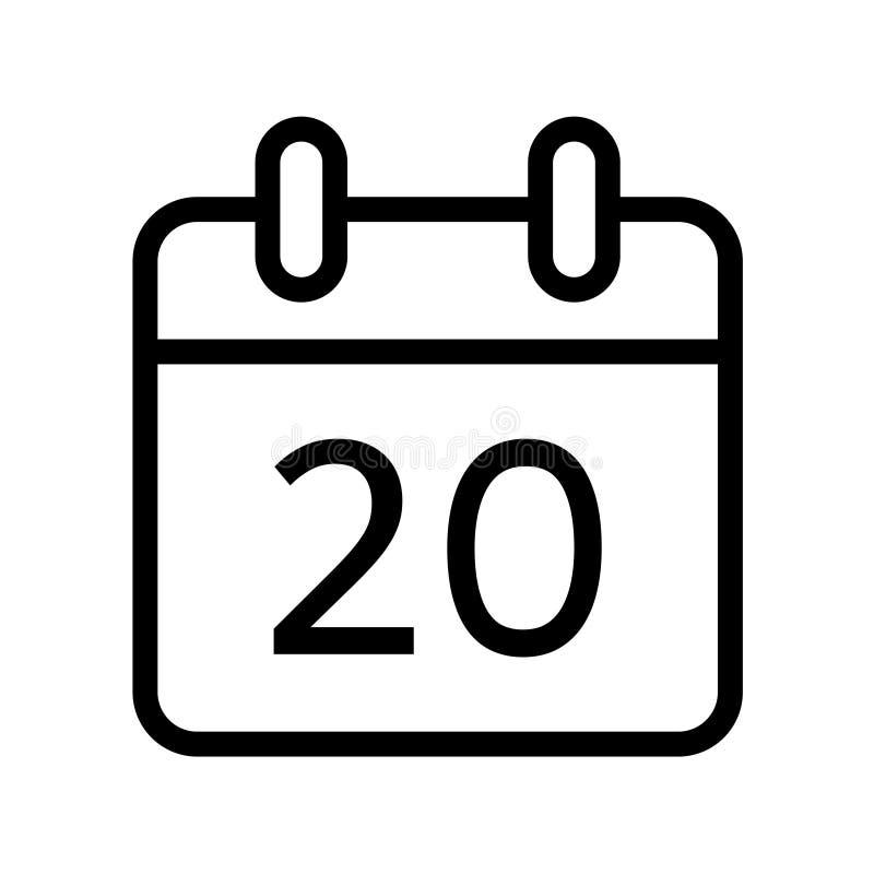 Dia de calendário ícone de vinte datas ilustração do vetor