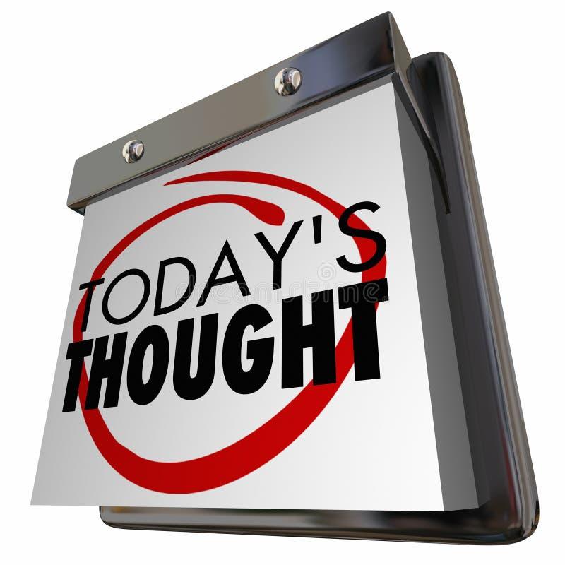 Dia de calendário de pensamento diário da ideia de hoje do pensamento ilustração stock