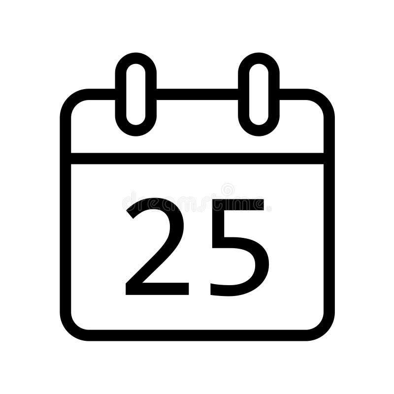 Dia de calendário vinte ícone de cinco datas ilustração stock