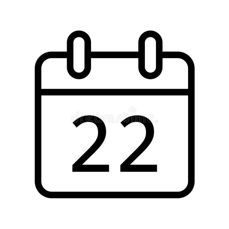 Dia de calendário vinte e dois ícones da data ilustração do vetor