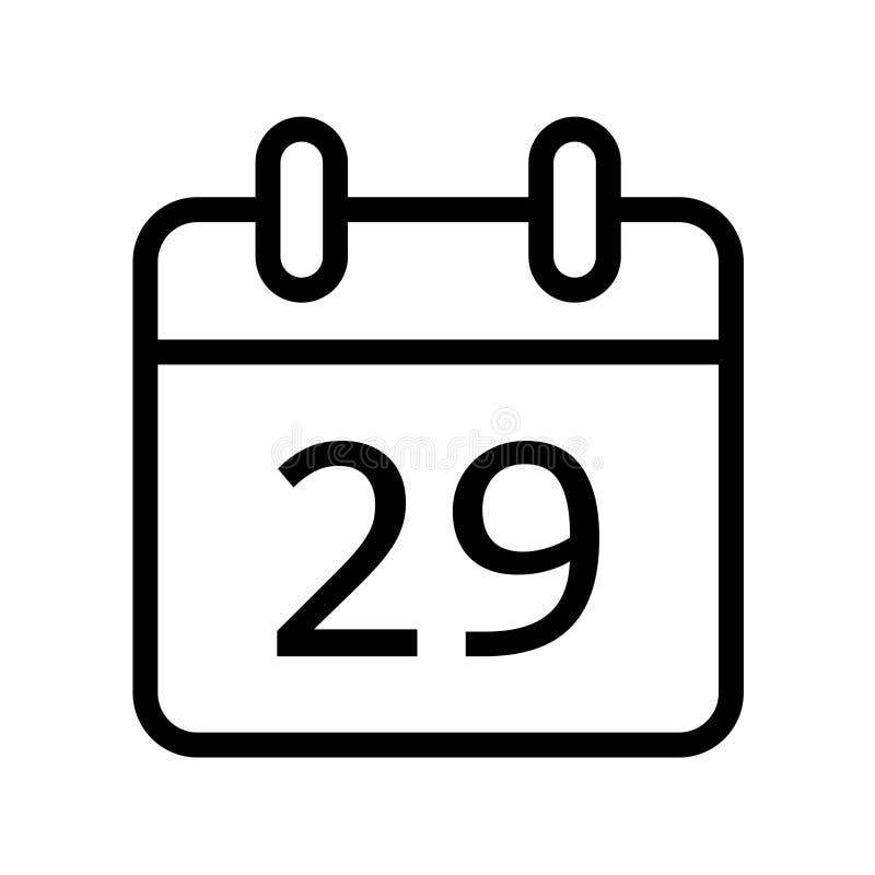 Dia de calendário vinte e nove ícones da data ilustração do vetor