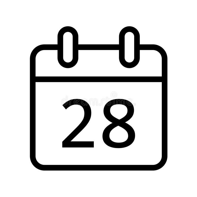 Dia de calendário vinte e oito ícones da data ilustração stock