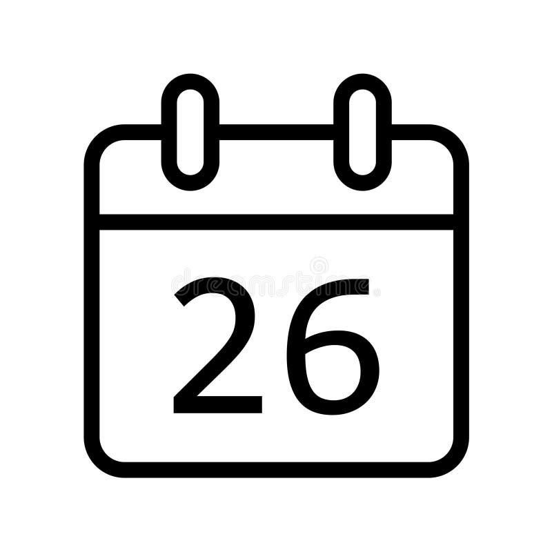Dia de calendário vinte e seis ícones da data ilustração do vetor