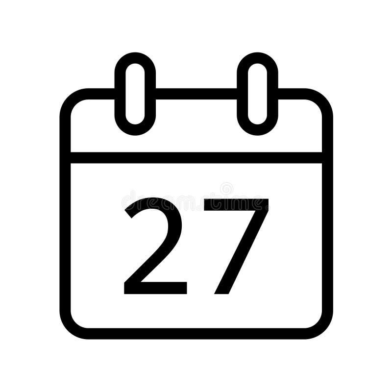 Dia de calendário vinte e sete ícones da data ilustração stock
