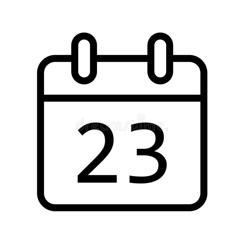 Dia de calendário vinte e três ícones da data ilustração do vetor