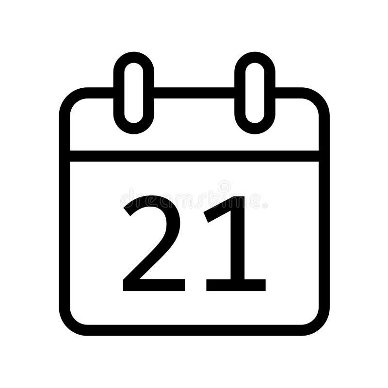 Dia de calendário vinte um ícone da data ilustração royalty free
