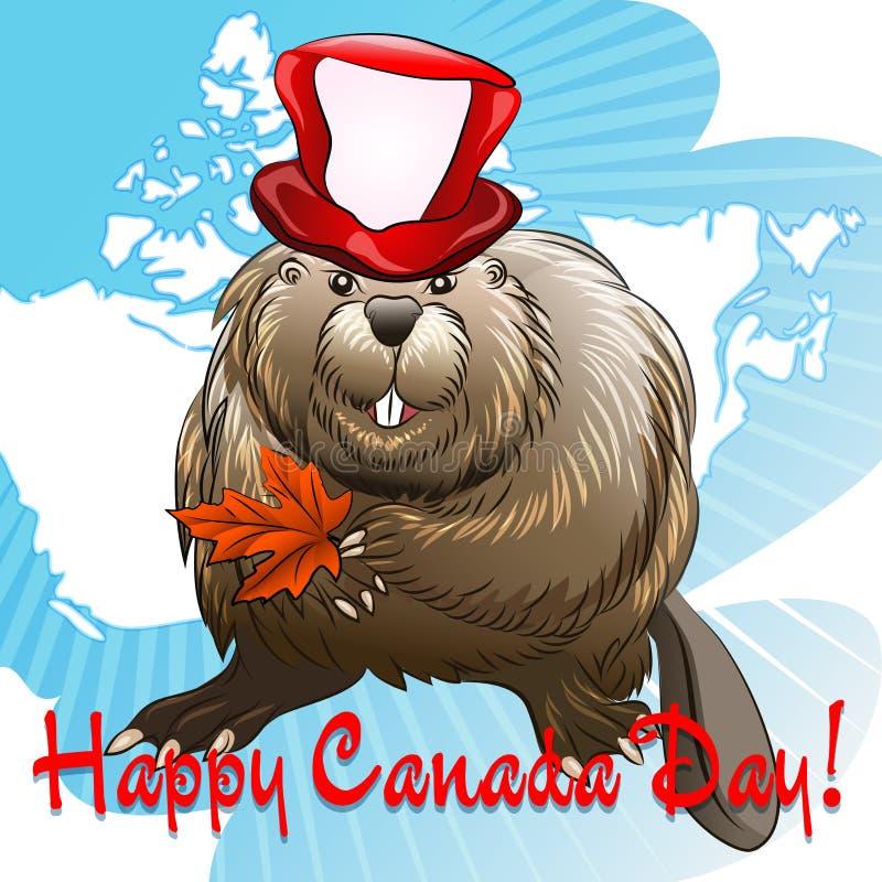 Dia de Canadá com castor ilustração royalty free
