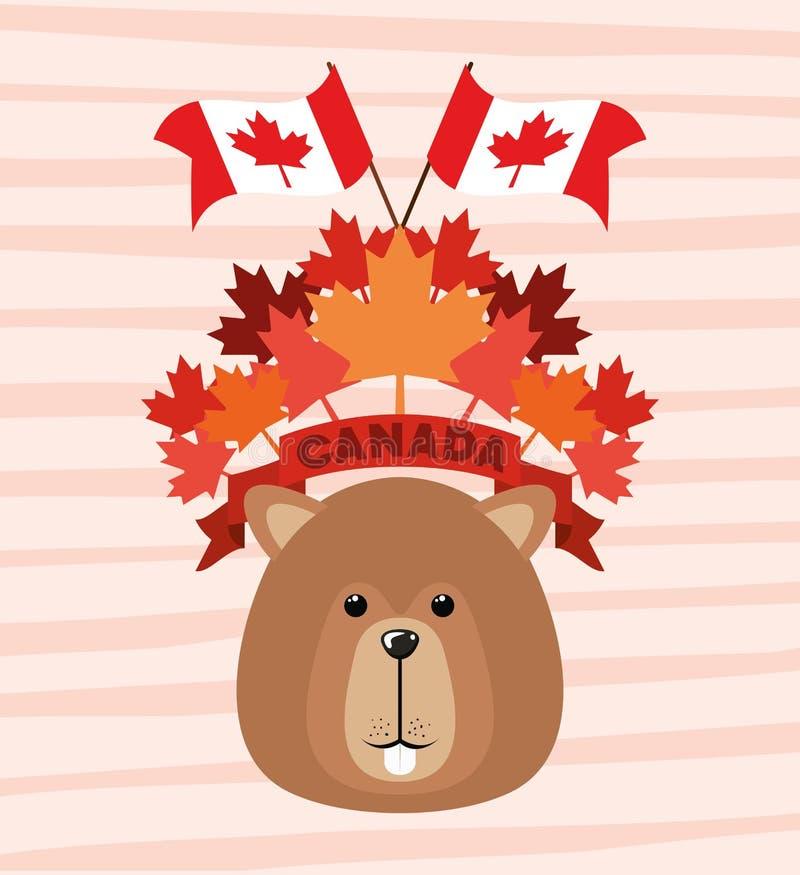 Dia de Canadá com projeto do castor e da folha de bordo ilustração stock